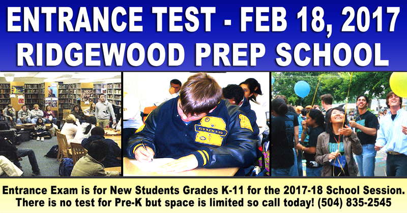 Ridgewood Prep School Entrance Exam Feb 18, 2017