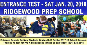 Ridgewood Prep School Entrance Exam Jan 20, 2018