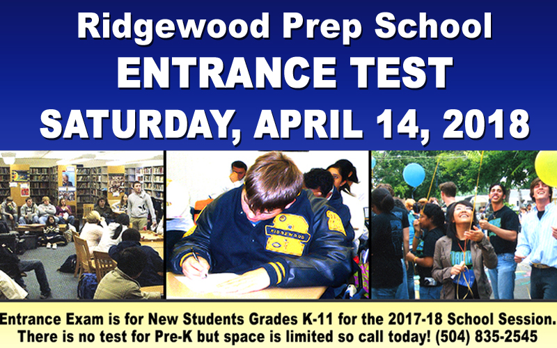 Ridgewood Prep School Entrance Exam April 22, 2018